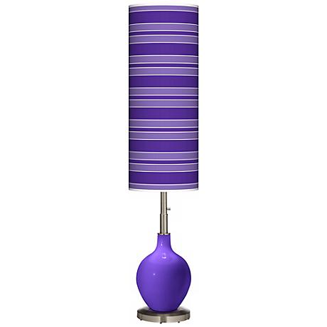 Violet Bold Stripe Ovo Floor Lamp