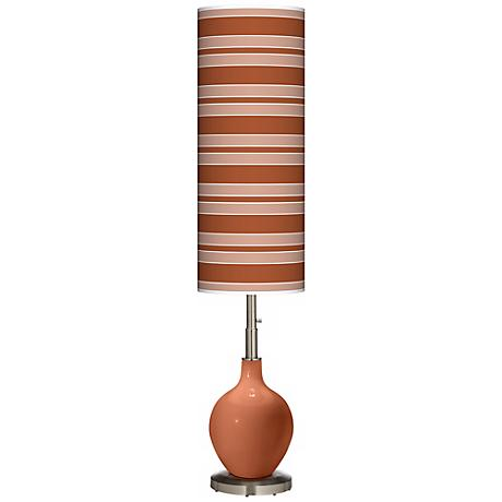 Fawn Brown Bold Stripe Ovo Floor Lamp
