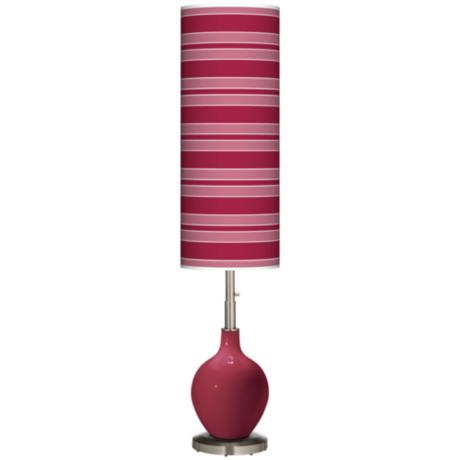 Antique Red Bold Stripe Ovo Floor Lamp
