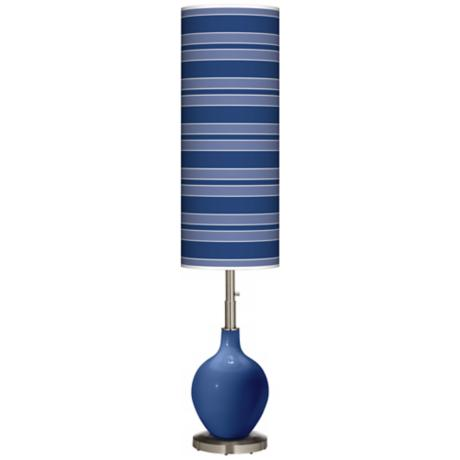 Monaco Blue Bold Stripe Ovo Floor Lamp