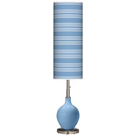 Dusk Blue Bold Stripe Ovo Floor Lamp