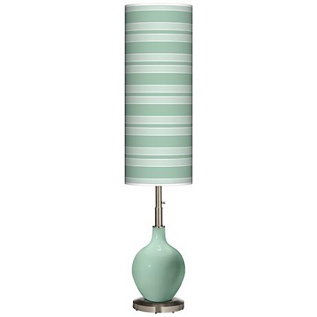 Grayed Jade Bold Stripe Ovo Floor Lamp