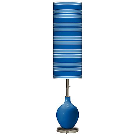 Hyper Blue Bold Stripe Ovo Floor Lamp