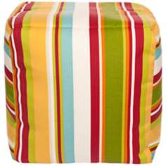"Warm Multi-Color Stripes 18"" Square Surya Pouf Ottoman"