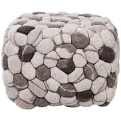 "Surya Winter White Wool 18"" Cube Ottoman Pouf"