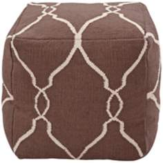 "Surya Dark Chocolate Wool 18"" Cube Ottoman Pouf"