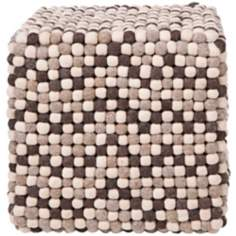 "Surya Brown Dot Wool 18"" Cube Ottoman Pouf"