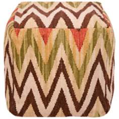 "Surya 18"" Square Earth Tone Chevron Ottoman Pouf"
