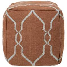 "Surya 18"" Square Mocha Brown Wool Ottoman Pouf"