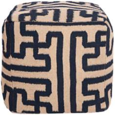 "Surya 18"" Square Greek Key Mossy Gold Wool Ottoman Pouf"