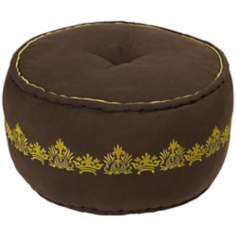 "Surya 22"" Wenge with Fern Green Jute Ottoman Pouf"