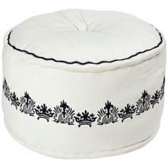 "Surya 22"" White with Black Jute Ottoman Pouf"