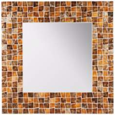 "Cooper Classics Allegro 31 1/2"" Square Shell Wall Mirror"