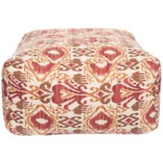 "Red Clay Ikat 24"" Wide Surya Pouf Ottoman"