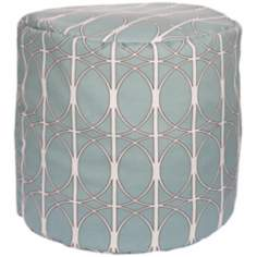 Blue Haze Circle Lattice Surya Pouf Ottoman