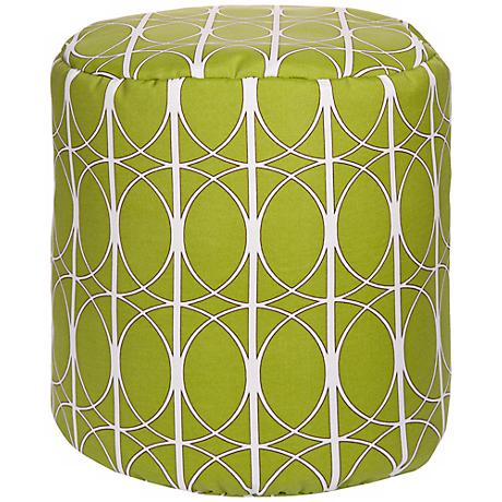 Fern Green Circle Lattice Surya Pouf Ottoman