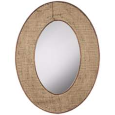 "Cooper Classics Brooklyn 45"" High Burlap Oval Wall Mirror"