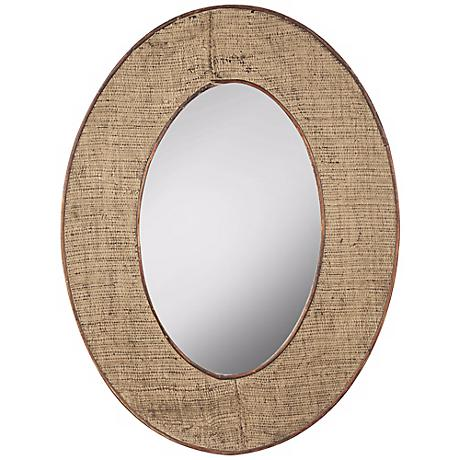 "Brooklyn 23 3/4"" x 31 3/4"" Burlap Oval Wall Mirror"