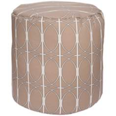Desert Sand Circle Lattice Surya Pouf Ottoman