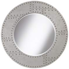 "Riveted Metal 36"" Round Wall Mirror"
