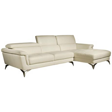 Elloise 2-Piece White Leather Sofa Set