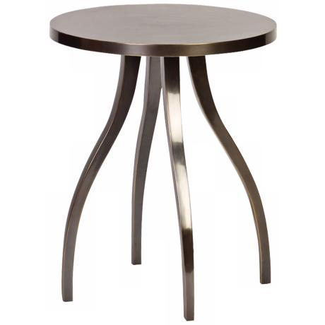 Cast Aluminum Round Side Table with Tapered Legs