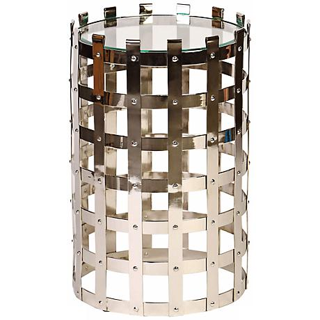 Floyd Polished Nickel Metal Strap Accent Table