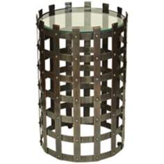 Metal Strap Dark Bronze Round Accent Table