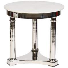 Genera 3-Legged Cast Aluminum Polished Nickel Accent Table