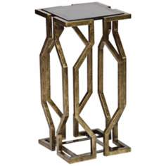 Countess Geometric Form Antique Brass Accent Table