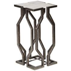 Geometric Pewter Accent Table with White Granite Top