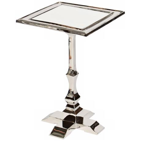 Cast Metal Polished Nickel Accent Table with Square Post