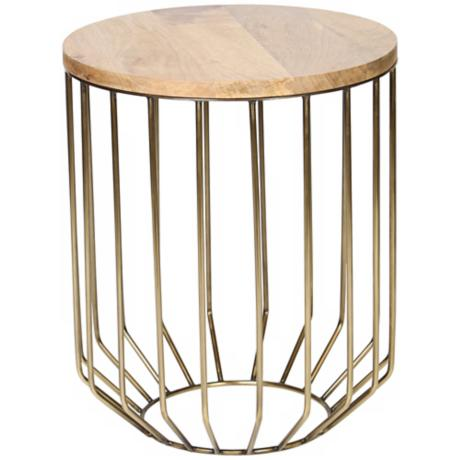 Altra Wire Frame Antique Brass Accent Table