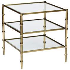 Caper Tiered Square Glass Antique Brass Side Table