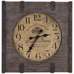 "Cooper Classics St. Clair 23 1/2"" Square Wood Wall Clock"