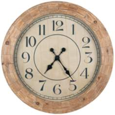 "Cooper Classics Fairbanks 31 1/2"" Round Wood Wall Clock"