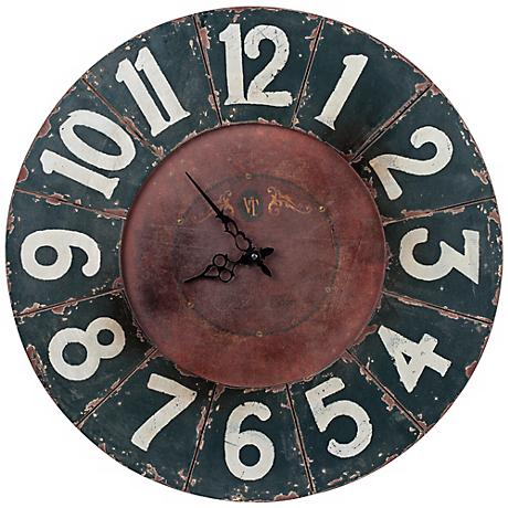 "Cooper Classics Balencia 23 1/2""W Black Wood Wall Clock"