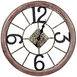 "Cooper Classics Caravita 25""W Metal and Wood Wall Clock"