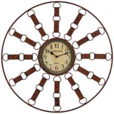 "Cooper Classics Thurston 35 1/4""W Brown Metal Wall Clock"