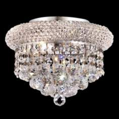 "Primo Royal Cut Crystal 10"" Wide Chrome Ceiling Light"