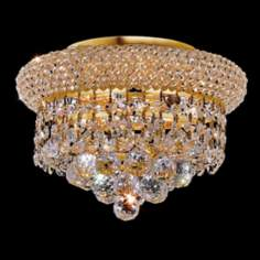 "Primo Royal Cut Crystal 10"" Wide Gold Ceiling Light"