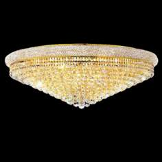 "Primo Royal Cut Crystal and Gold 42"" Wide Ceiling Light"