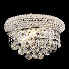 "Primo Royal Cut Crystal 12"" Wide Chrome Wall Sconce"
