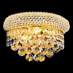 "Primo Royal Cut Crystal 12"" Wide Gold Wall Sconce"