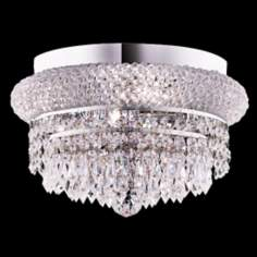 "Primo Royal Cut Crystal 12"" Wide Chrome Ceiling Light"
