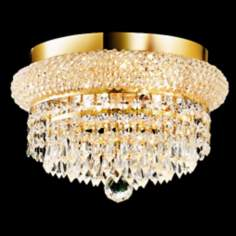"Primo Royal Cut Crystal 12"" Wide Gold Ceiling Light"