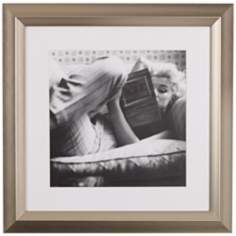 "Marilyn Monroe Reading 19 1/2"" High Black and White Wall Art"