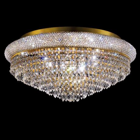 "Primo Royal 28"" Wide Cut Crystal Gold Ceiling Light"