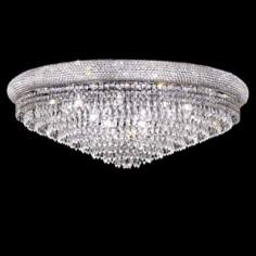"Primo Royal 36"" Wide Cut Crystal Chrome Ceiling Light"