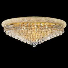 "Primo Royal 36"" Wide Cut Crystal and Gold Ceiling Light"
